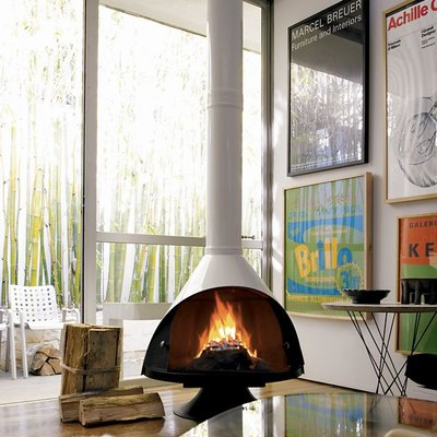 white midcentury Malm fireplace