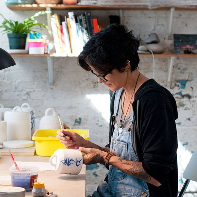 Michele Quan working in her studio
