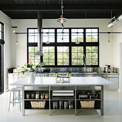 stainless steel kitchen cabinets in contemporary kitchen