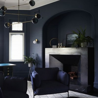 Modern blue sitting room painted in Dulux