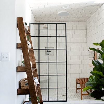open shower with crittall shower screen