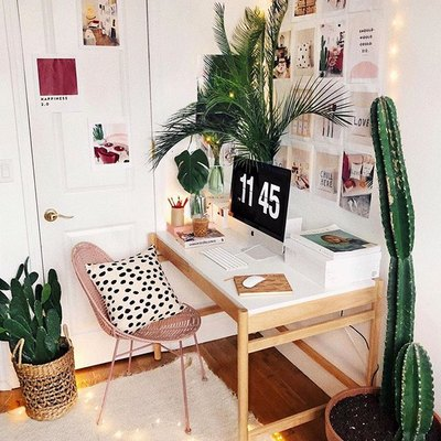 Plants and Twinkle Lights Add Whimsy to a Sweet Home Office