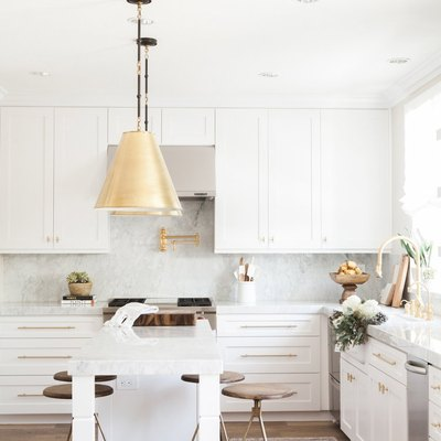 White and gold transitional kitchen
