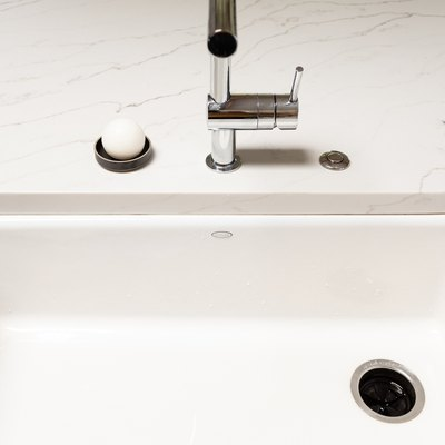 close up view of kitchen sink and drain