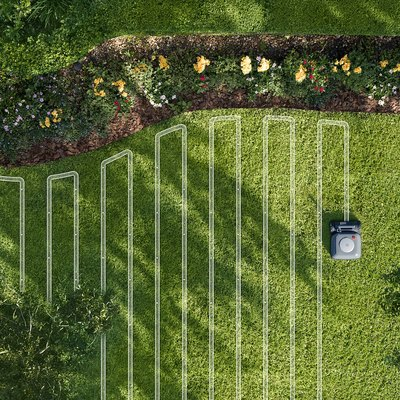 aerial view of Terra robot mowing lawn