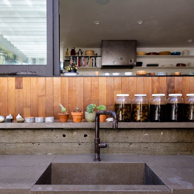 outdoor concrete counter with built-in sink