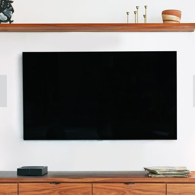 mounted tv with in-wall speakers