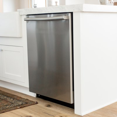 view of stainless steel dishwasher in kitchen island