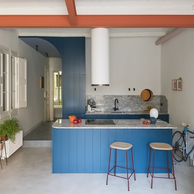 Colorful blue kitchen