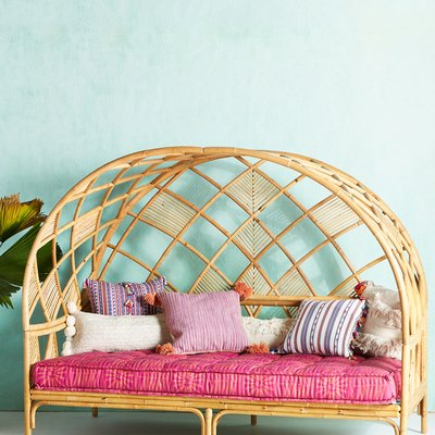 rattan daybed with curved canopy