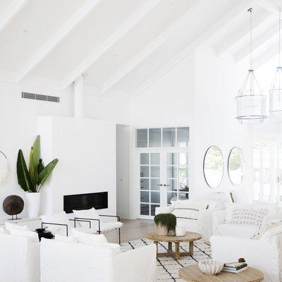 Tropical white living room idea