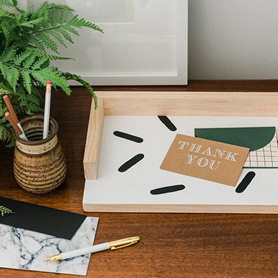 Customize the painted pattern on this wood paper tray to suit your aesthetic!