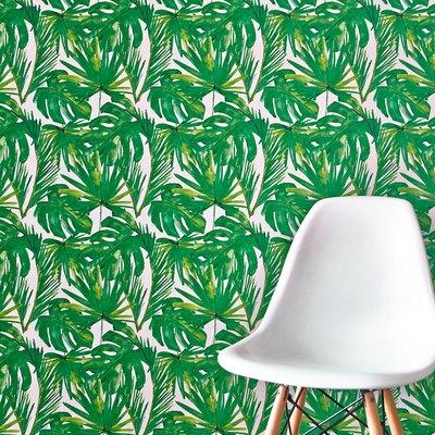 Vibrant green botanical wallpaper