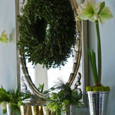 MIrror with Christmas wreath.