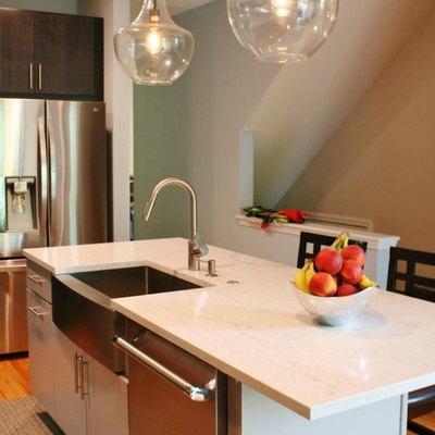 Kitchen island with quartz countertop.