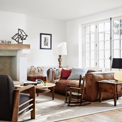 French country living room ideas with leather sofa and fireplace