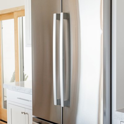 close up of stainless steel fridge