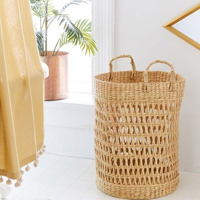 small bathroom storage ideas with  seagrass woven laundry basket