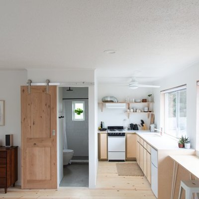 kitchen with plywood cabinets