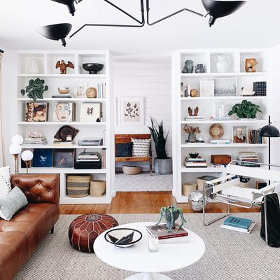 The Open Shelving in This Contemporary Living Room Is Giving Us Life