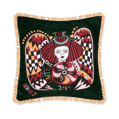 fringe tasseled velvet embroidered cushion covers