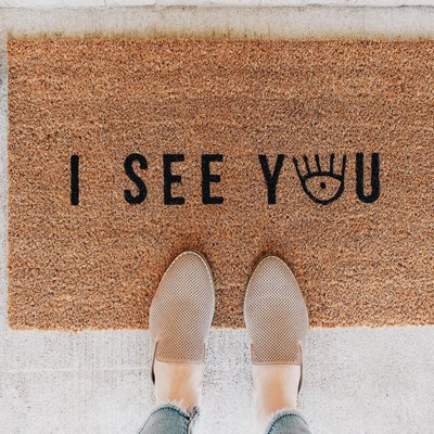 "Doormat that says, ""I SEE YOU"""