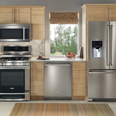 kitchen scene with stainless steel appliances