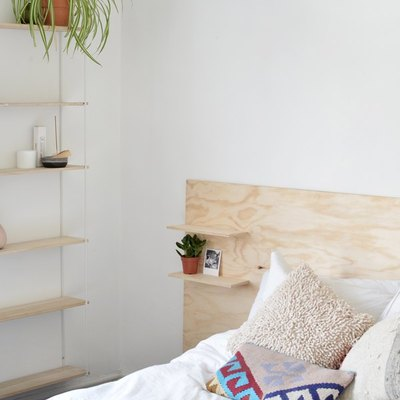 shelves on headboard for DIY storage ideas for small bedrooms