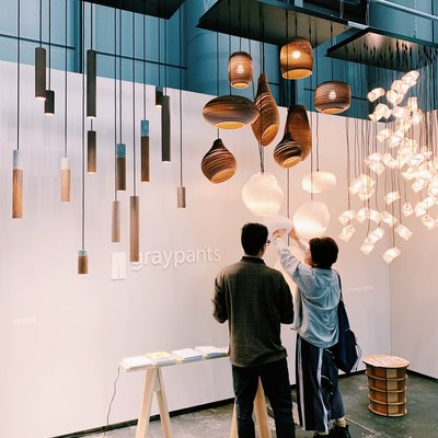 Graypants hanging pendant lights made of cardboard at ICFF 2019