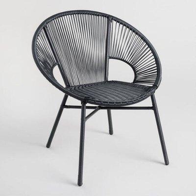 black wicker outdoor chair