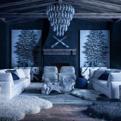 blue wintry living room