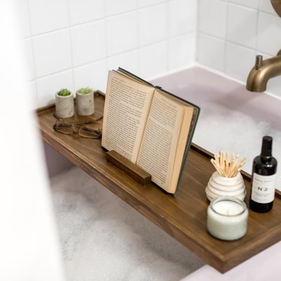 Make your own modern wood bath tray to prop up a book and candle.