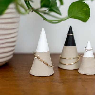 Store your jewelry loud and proud with DIY Faux Concrete Jewelry Cones.