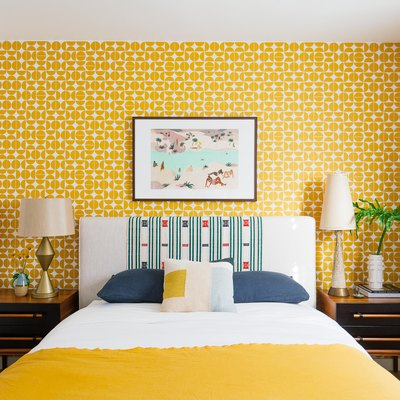 Dabito's new guest room with Society6 wallpaper