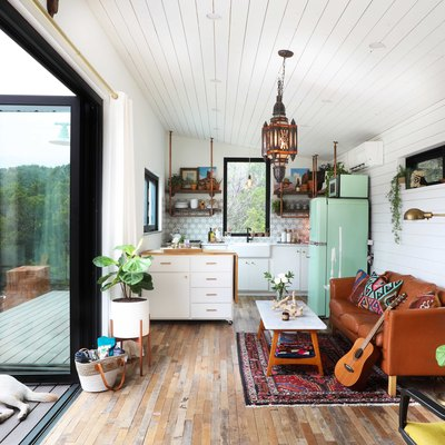 We Can't Believe This Boho Compound Is Made From Two Trailer Homes