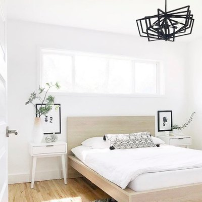 Statement Lighting Elevates a Minimal Bedroom to the Next Level
