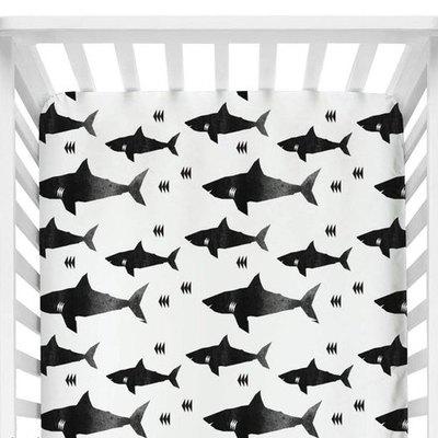Black and White Shark Crib Sheet