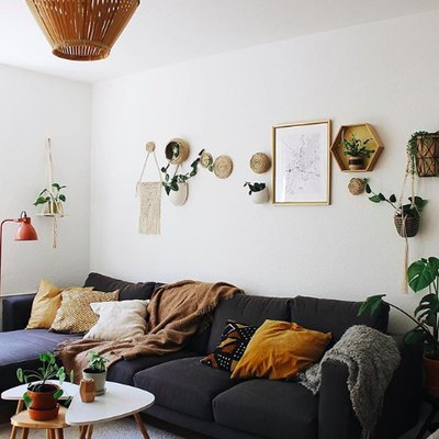 Plants, Prints, and Woven Art Fill a Wall With Creative Intrigue