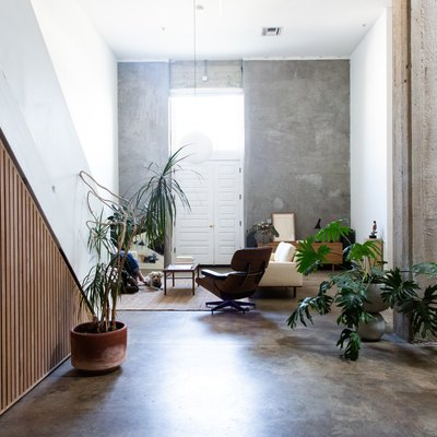 modern seating area with concrete floors, wood paneled walls, and greenery