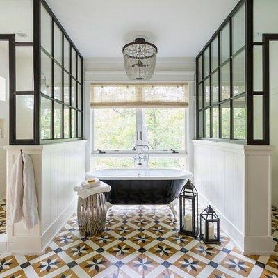 Yellow tiled bathroom