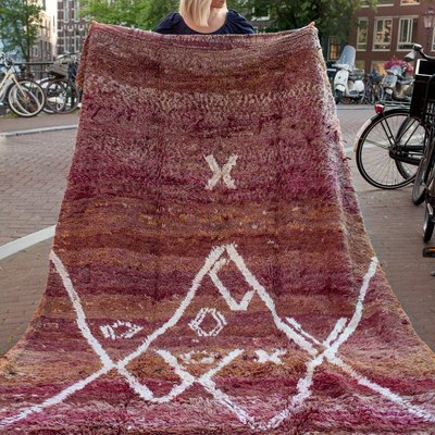 Vintage burgundy rug from Morocco