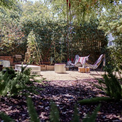 A garden with mulch and a few green plants, a patio with chairs and a table, a fence surrounded by lush trees and shrubs