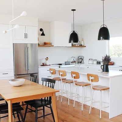 Black, White, and Wood Is a Great Combo to Inspire Your Kitchen Reno