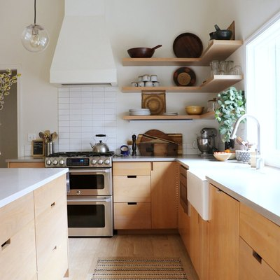 Laminate counters used in bright, modern kitchen remodel