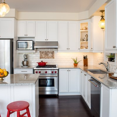 Professionally designed new white kitchen with touch of retro style