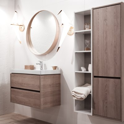 Bathroom interior with sink and faucet