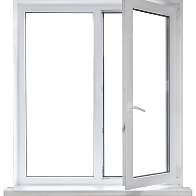 Open white casement window on white background