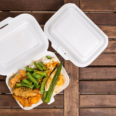 Convenient but unhealthy polystyrene lunch boxes with take away