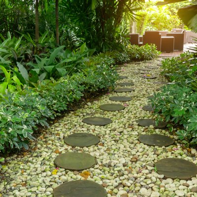 Circle shape of pattern walkway stepping sand stone on white gravel in a backyard garden of lush greenery plant,  shrub and trees