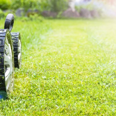 Mowing lawns, Lawn mower on green grass, mower grass equipment, mowing gardener care work tool, close up view, sunny day. Soft lighting